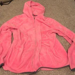 Tops - Zip-up hooded fluffy sweatshirt